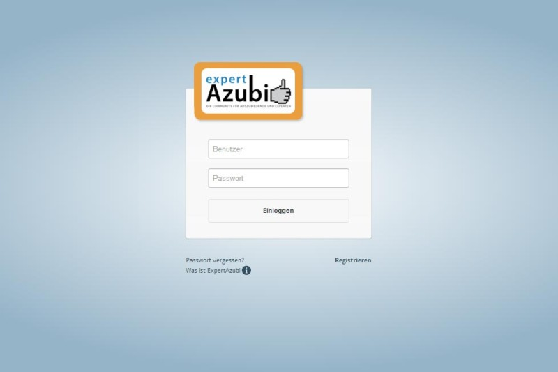 ExpertAzubi Login Screen