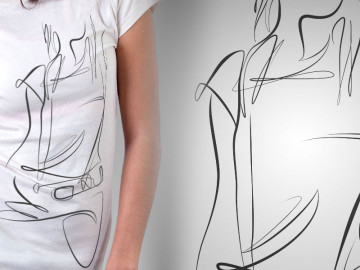 Line Figure Mockup on Shirt