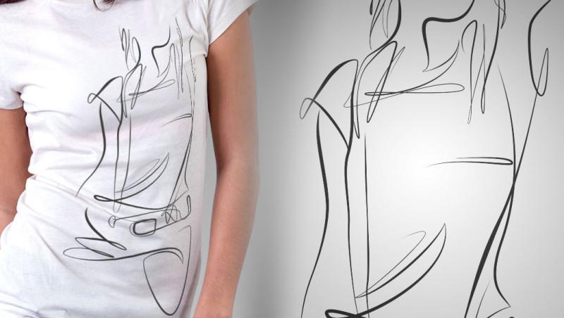Line Figure Mockup on Shirt